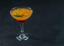 色的饮料,红色桔子,柠檬,马蒂尼鸡尾酒玻璃的组合 免版税图库摄影