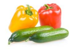 色的黄瓜查出的辣椒粉蔬菜 免版税库存图片