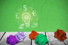 绿色的综合图象的综合图象弄皱了纸3d 免版税库存图片