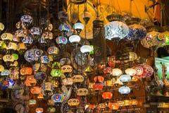 色的玻璃土耳其灯  图库摄影