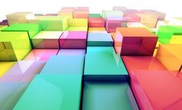 色的3d求背景的立方 免版税库存图片