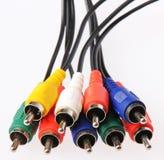 色的av缆绳,隔绝在白色。录影和音频缆绳插座 图库摄影