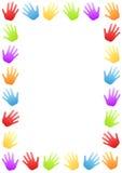 色的手边界框架 库存图片