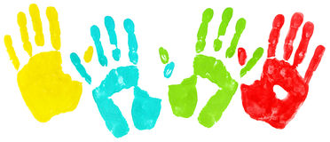 色的handprints 库存照片