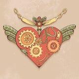 色的steampunk心脏 免版税库存图片