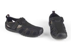 黑色皮革凉鞋 图库摄影