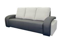 黑色皮革沙发 免版税库存图片