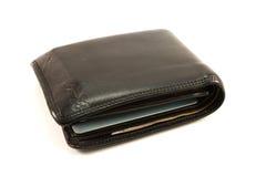 黑色皮革老钱包 库存图片