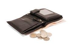 黑色皮革钱包 免版税库存图片