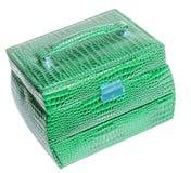 绿色皮革首饰盒 免版税库存照片