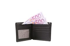 黑色皮革货币钱包 库存照片