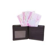 黑色皮革货币钱包 库存图片