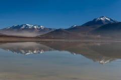 绿色盐水湖,拉古纳verde,玻利维亚 免版税库存照片