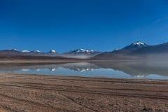 绿色盐水湖,拉古纳verde,玻利维亚 免版税库存图片
