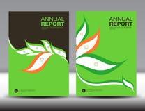 绿色盖子年终报告模板集合,盖子设计,小册子 库存例证
