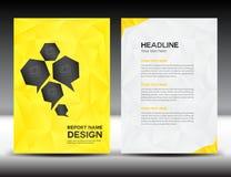 黄色盖子年终报告模板,多角形背景,小册子设计,盖子模板,飞行物设计,股份单 免版税库存照片