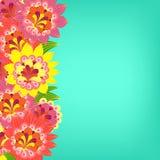 黑色看板卡空白色的花卉花的虹膜 在绿松石的花梢明亮的色的花 免版税库存图片