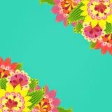 黑色看板卡空白色的花卉花的虹膜 在绿松石backgro的花梢明亮的色的花 免版税库存照片