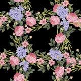 黑色看板卡空白色的花卉花的虹膜 玫瑰花束, 库存图片