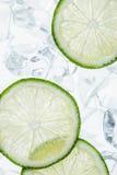 绿色石灰切片和冰块 免版税图库摄影