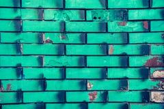 绿色砖墙 免版税库存照片