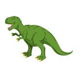 绿色硕大恐龙暴龙雷克斯 史前爬行动物 向量例证
