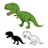 绿色硕大恐龙暴龙雷克斯 史前爬行动物 皇族释放例证