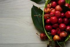 绿色碗新鲜和汁液樱桃 免版税库存照片