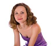 紫色礼服的女孩 免版税库存照片