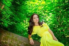 黄色礼服的妇女在森林里expectat的概念 库存图片