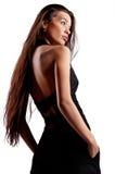 黑色礼服的妇女 库存照片