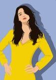 黄色礼服的时尚女孩 库存图片