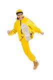 黄色礼服的现代舞蹈家 免版税库存照片