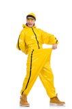黄色礼服的现代舞蹈家 图库摄影