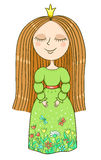 绿色礼服的逗人喜爱的矮小的公主 图库摄影