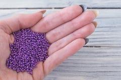 紫色种子在女孩的手上成串珠状 库存图片