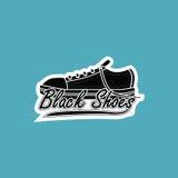 黑色穿上鞋子商标 免版税库存照片