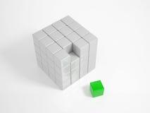 绿色立方体是缺掉片断 库存图片