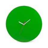 绿色简单的圆的壁钟-在白色隔绝的手表 免版税库存图片