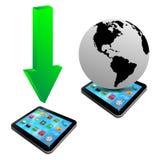 绿色箭头、片剂和模型行星地球20.04.13 免版税库存图片