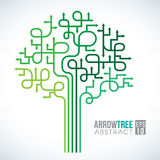 绿色箭头树标志抽象传染媒介设计 库存照片