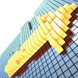 黄色箭头, 3D 免版税库存照片