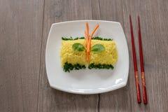 黄色米用番红花 印第安烹调 免版税库存图片