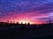 紫色红色天空 免版税库存照片