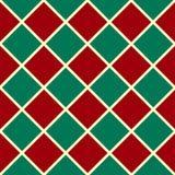 绿色红色栅格圣诞节棋盘金刚石背景 免版税库存照片