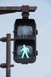 绿色红绿灯标志 库存图片