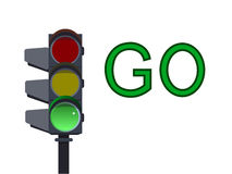 绿色红绿灯 也corel凹道例证向量 库存图片