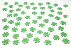 绿色纸牌筹码 库存图片