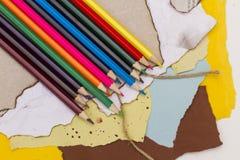 色纸铅笔 免版税图库摄影