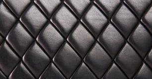 黑色缝制的皮革背景 图库摄影